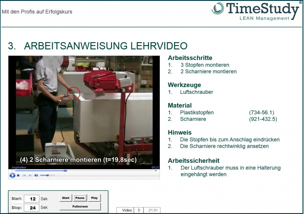 Videoanalyse TimeStudy T1- Lehrfilme in Powerpoint