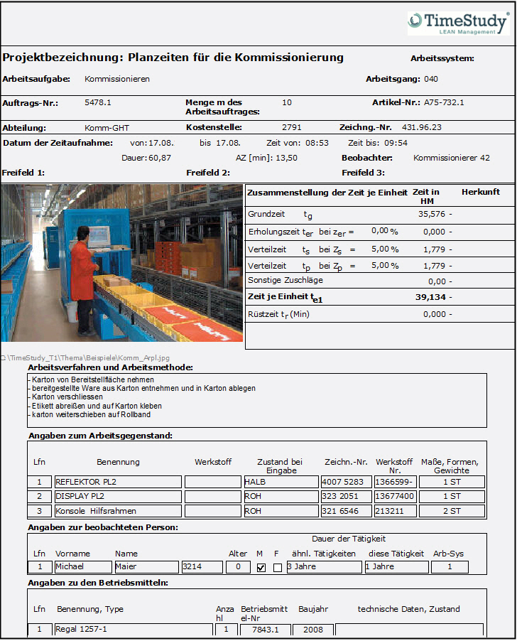 TimeStudy T1-Projektdatenblatt (zyklische Auswertung)