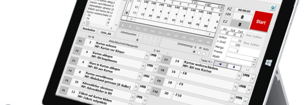 Zeitaufnahmen mit dem TimeStudy Basismodul per Tablet PC