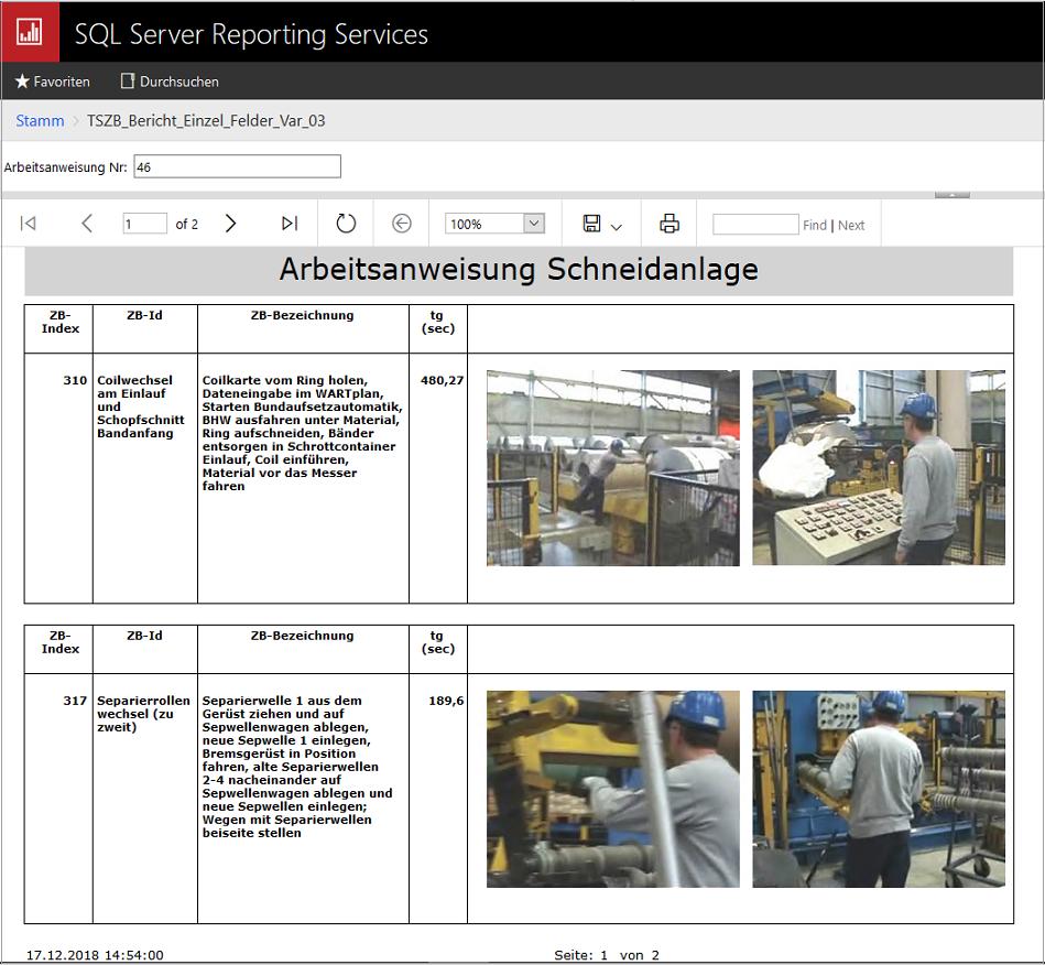 Arbeitanweisungen über SQL Reporting Services