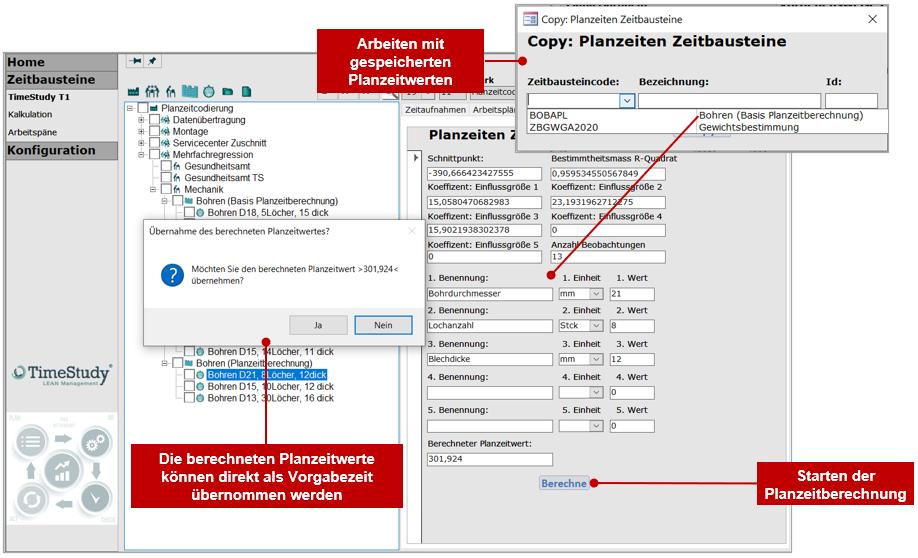 TimeStudy-Zeitbausteine Regressionsanalyse